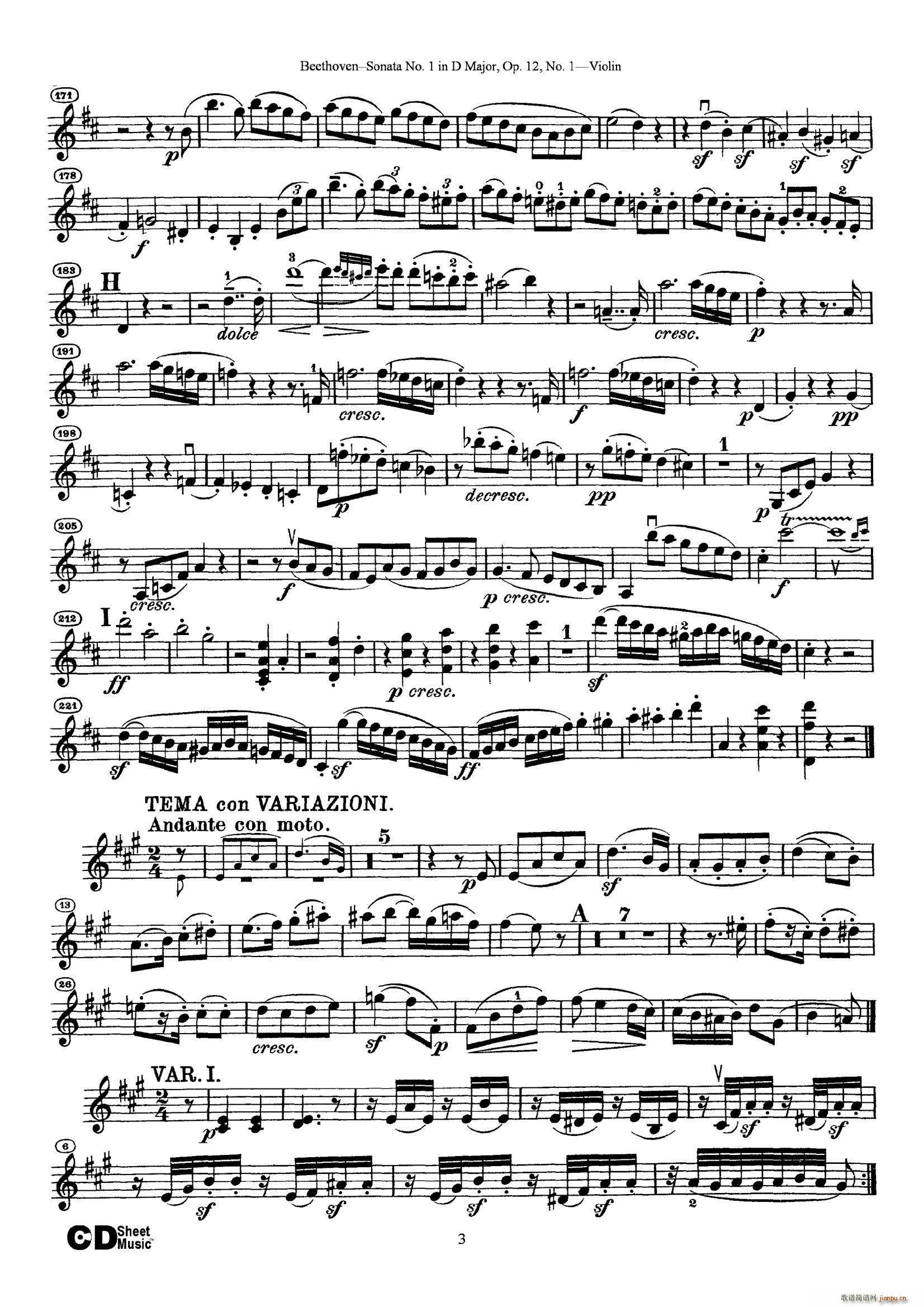 D大调第一小提琴奏鸣曲(小提琴谱)3