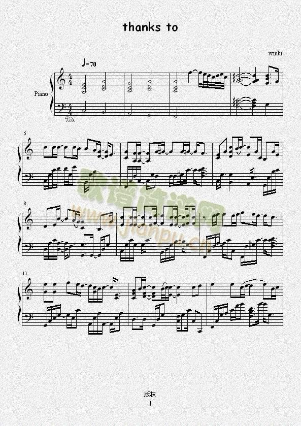 THANKSTO(钢琴谱)1