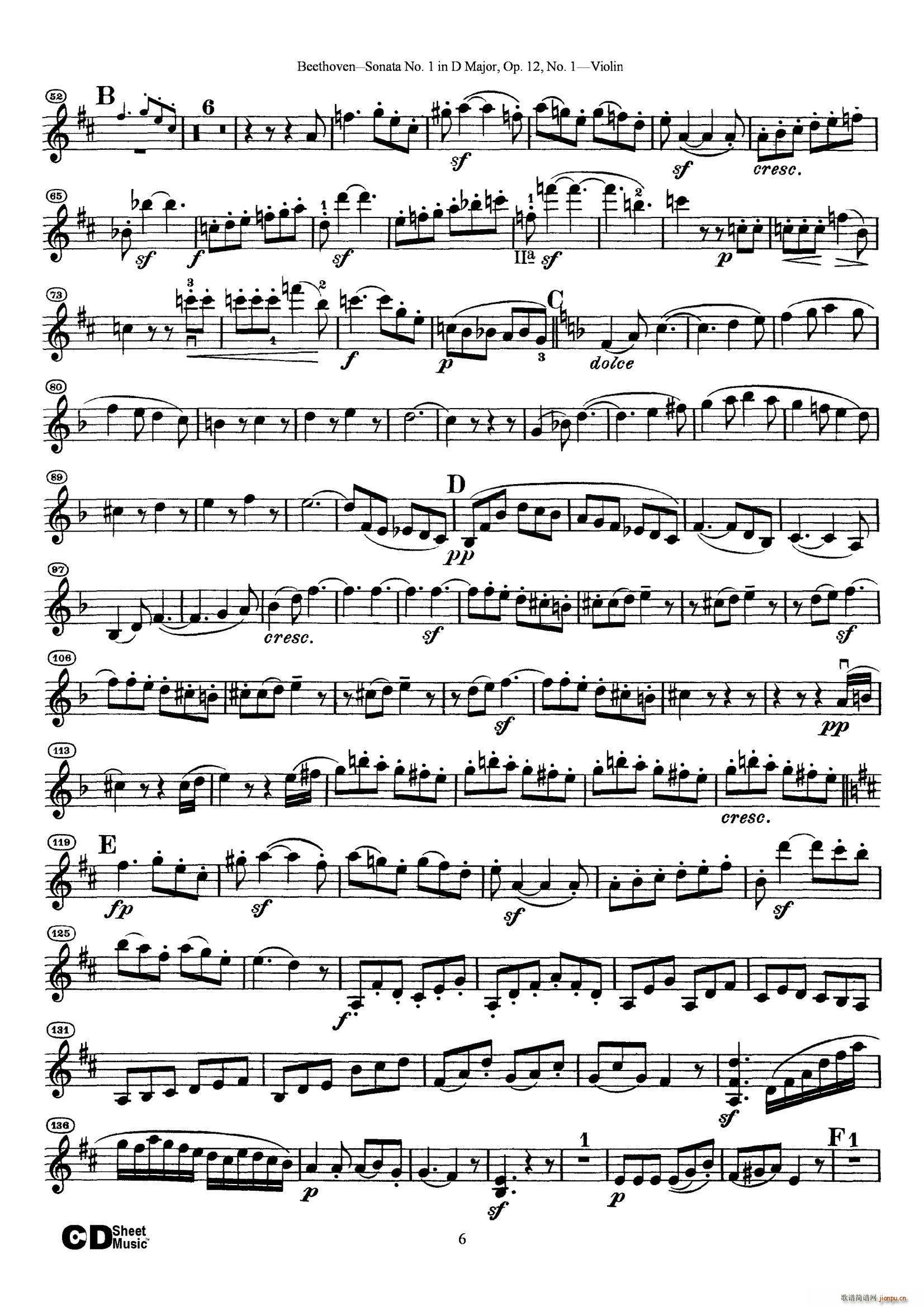 D大调第一小提琴奏鸣曲(小提琴谱)6