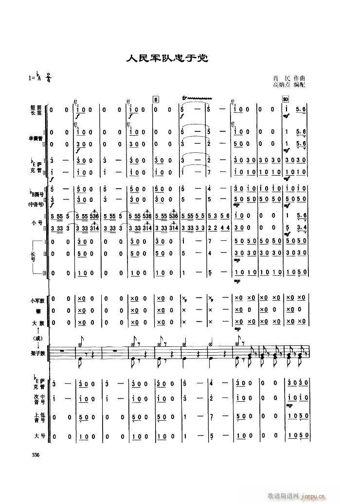 人民军队忠于党 管乐合奏(总谱)1