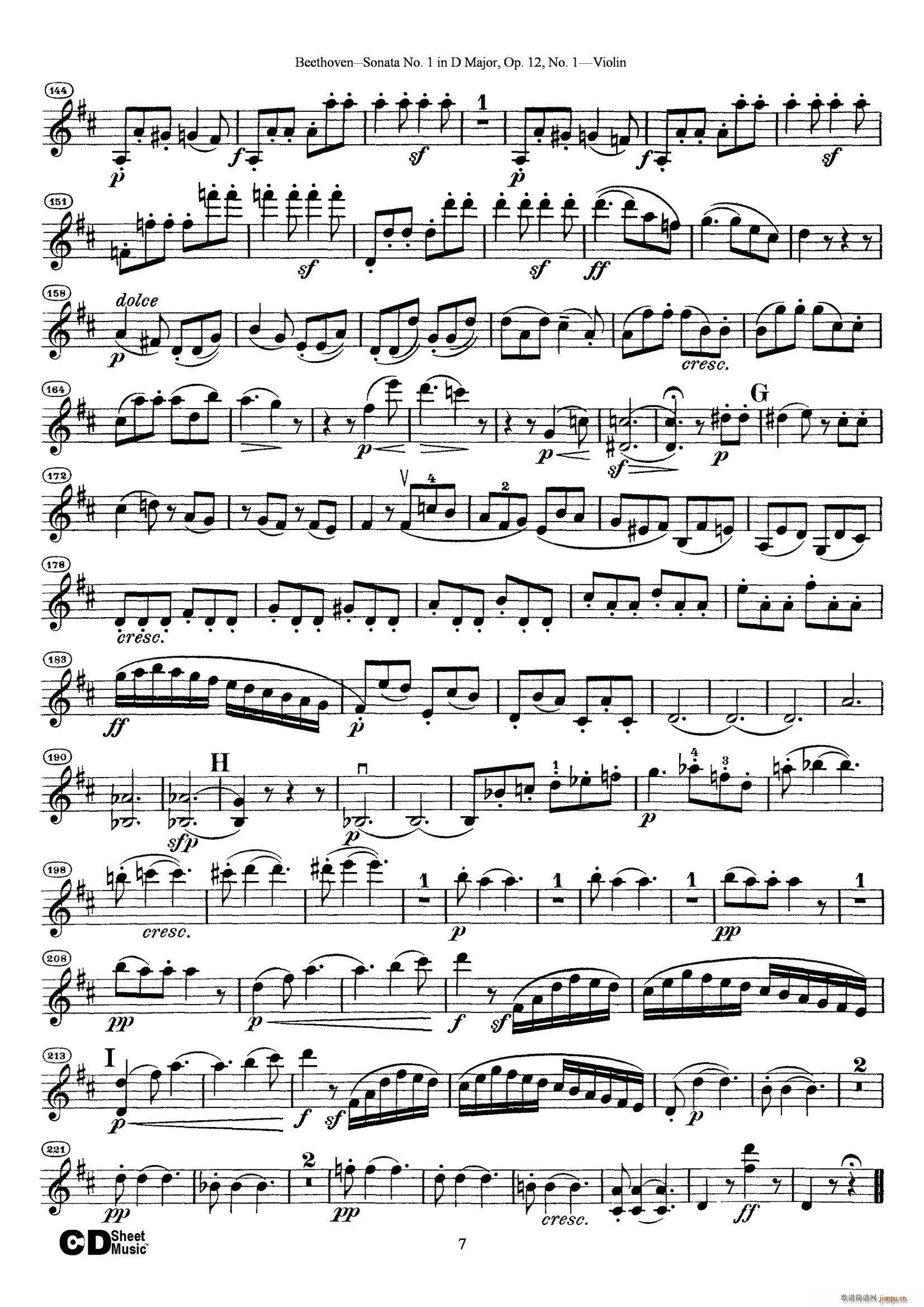 D大调第一小提琴奏鸣曲(小提琴谱)7