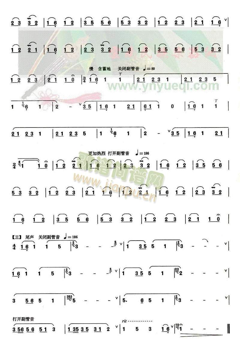 美丽的秧萝(葫芦丝谱)3