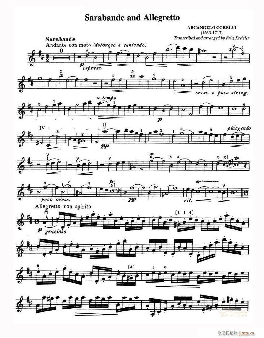 Sarabande and Allegretto(小提琴谱)1