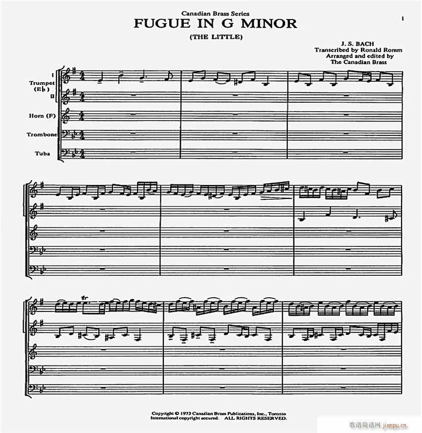 巴赫G小调赋格曲 小乐队(总谱)1