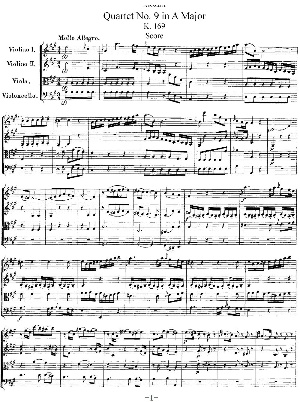 Mozart Quartet No 9 in A Major K 169(总谱)1