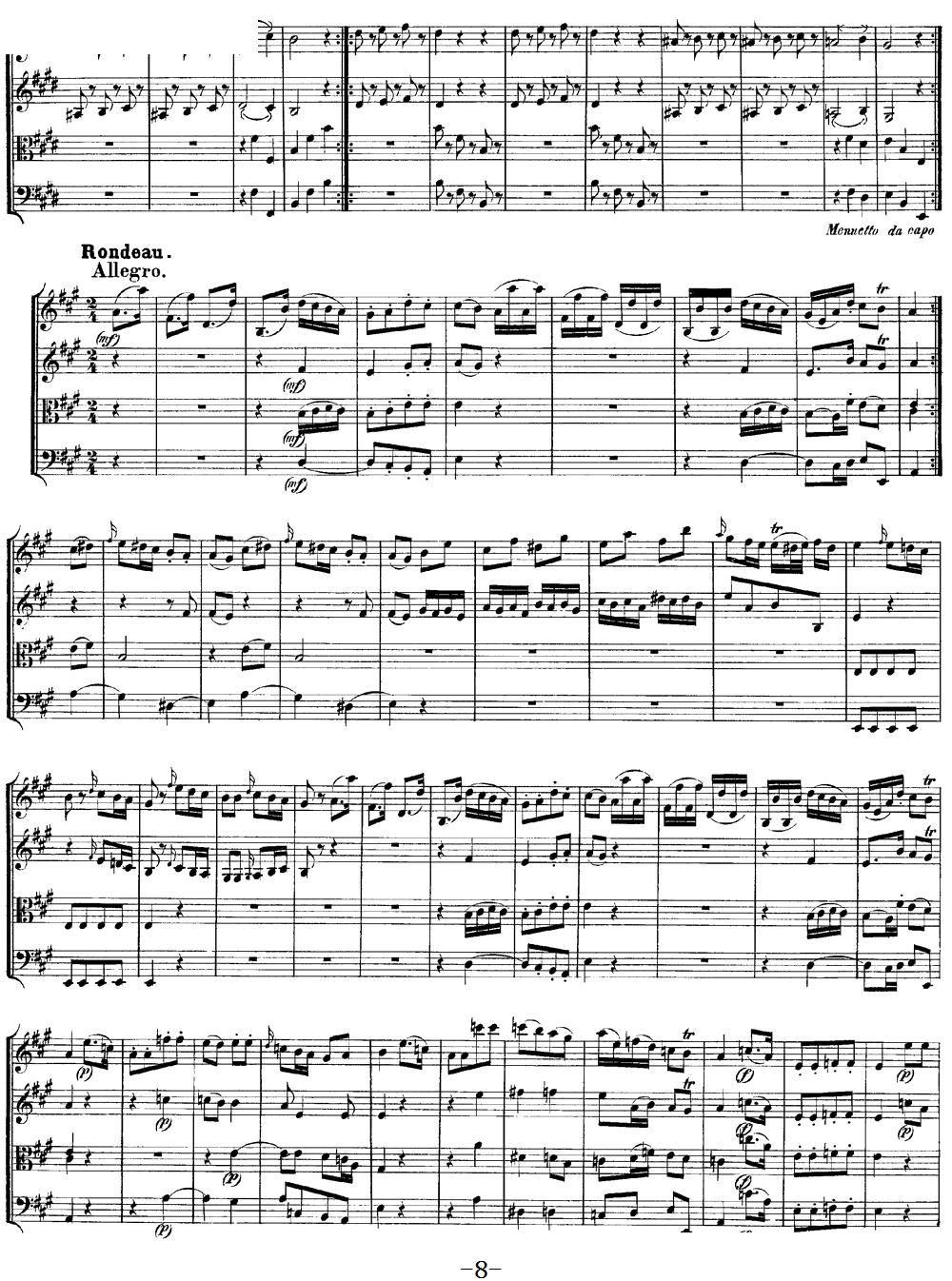 Mozart Quartet No 9 in A Major K 169(总谱)8