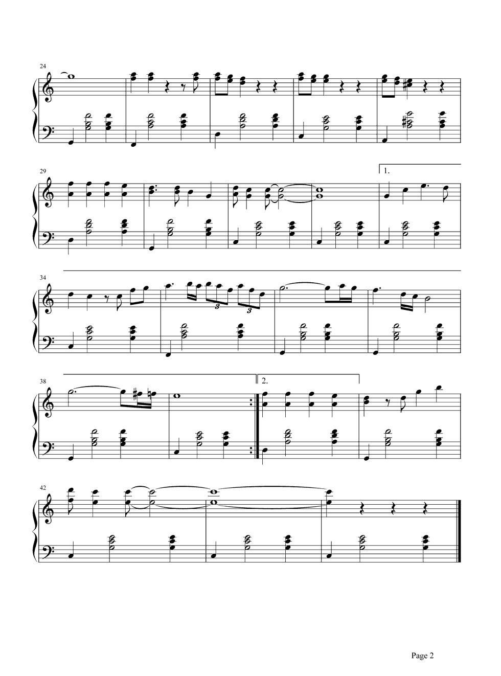 思念钢琴谱