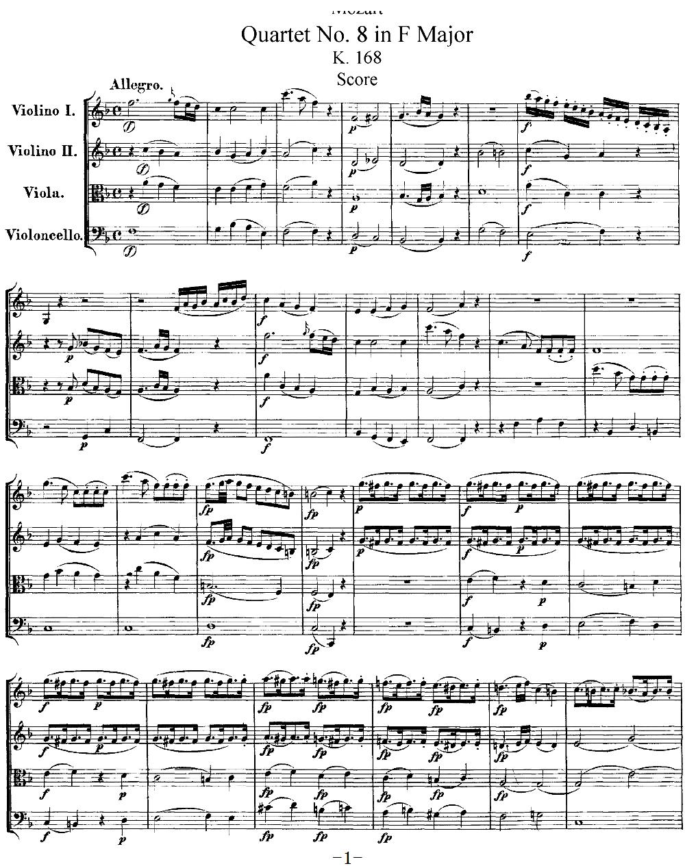 Mozart Quartet No 8 in F Major K 168(总谱)1