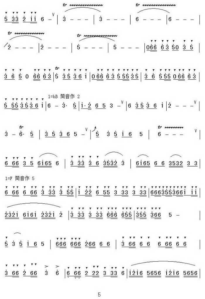 中国乐谱网——【笛箫曲谱】潇湘银河5