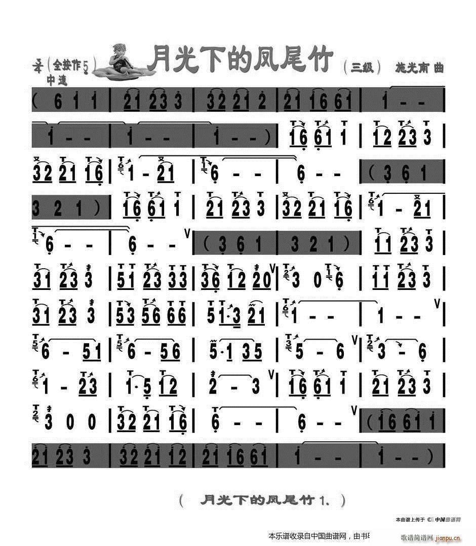 月光下的凤尾竹 刘慧淑制谱版(葫芦丝谱)1