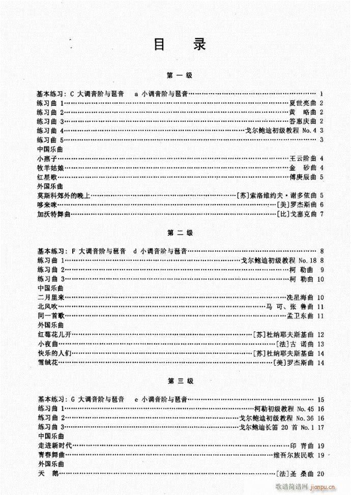 长笛考级教程目录1-20(笛箫谱)1