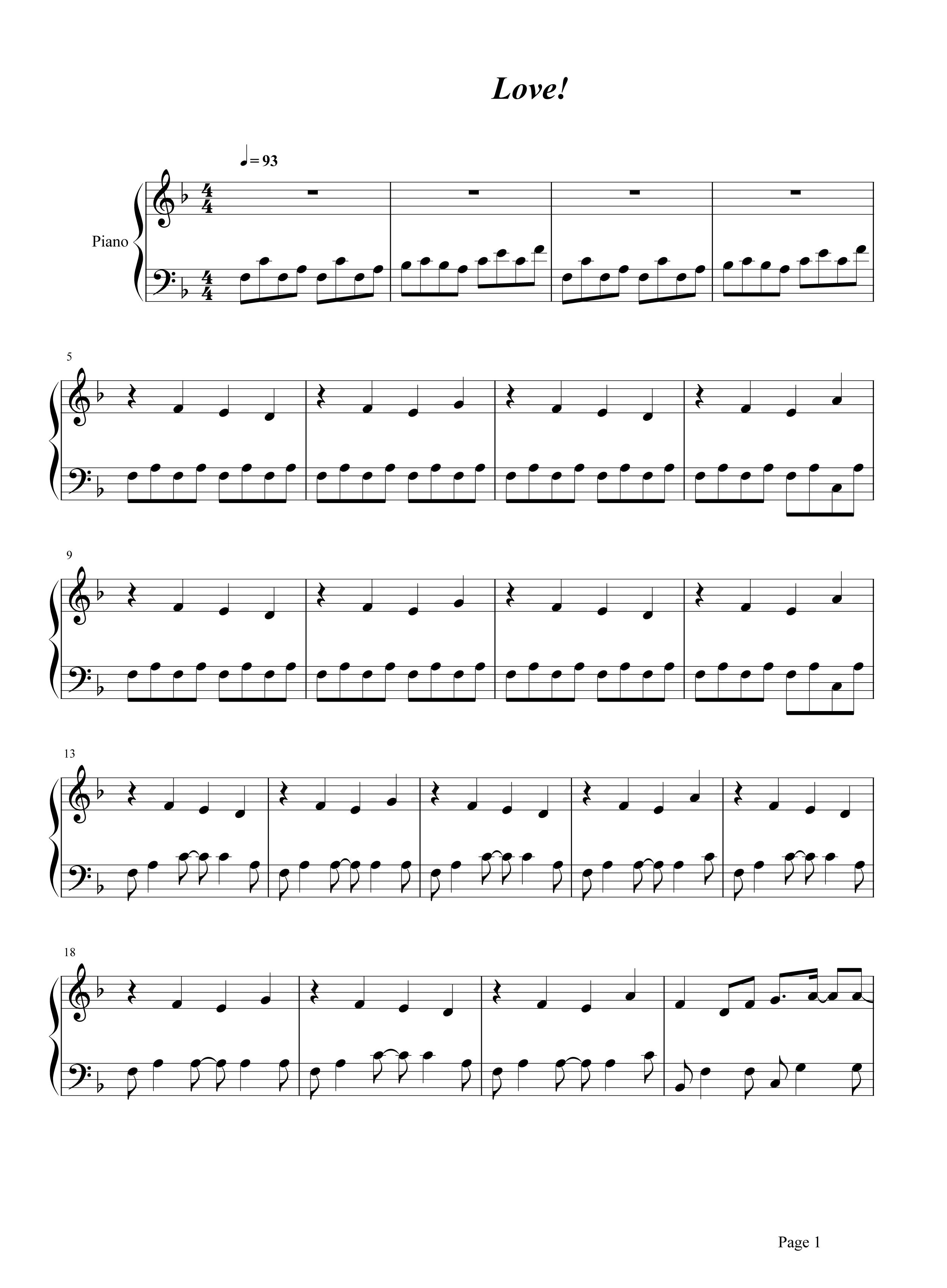 love钢琴谱