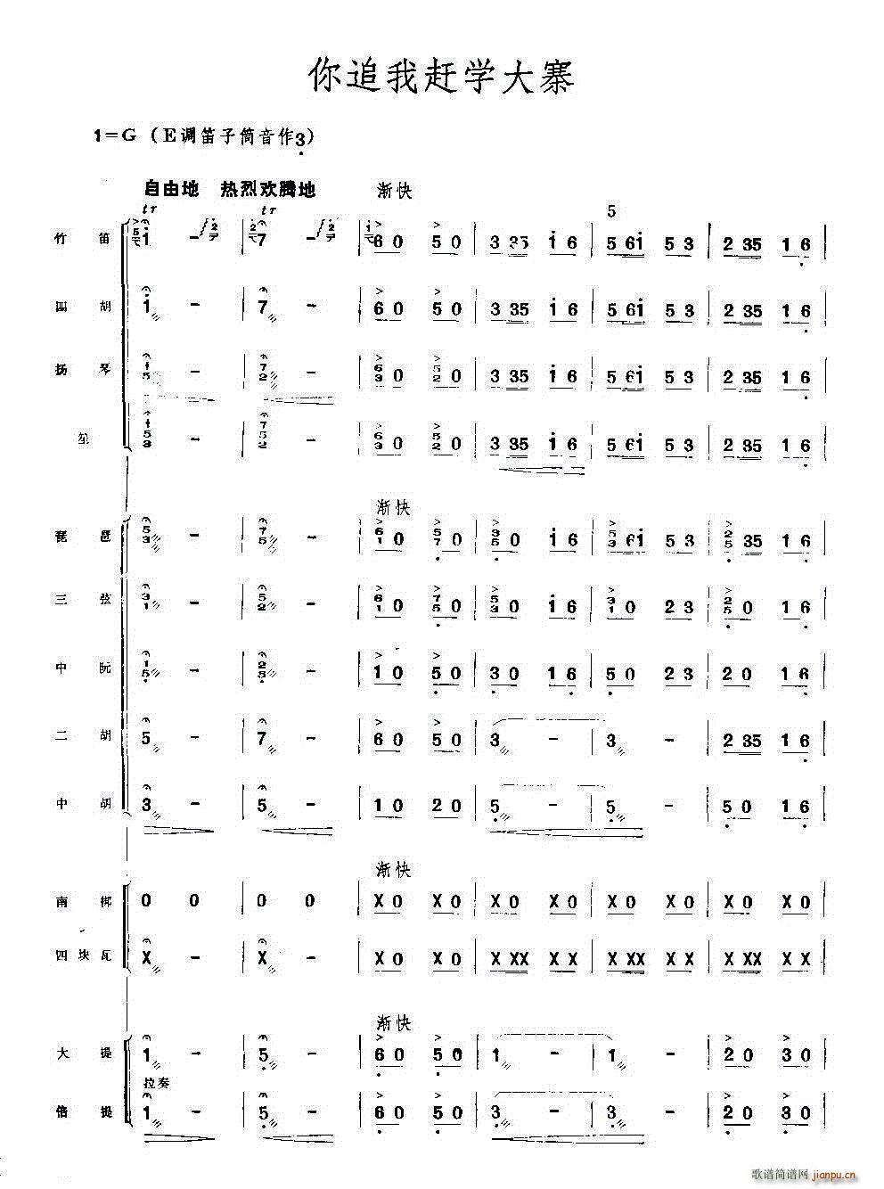 你追我赶学大寨 民乐合奏(总谱)1