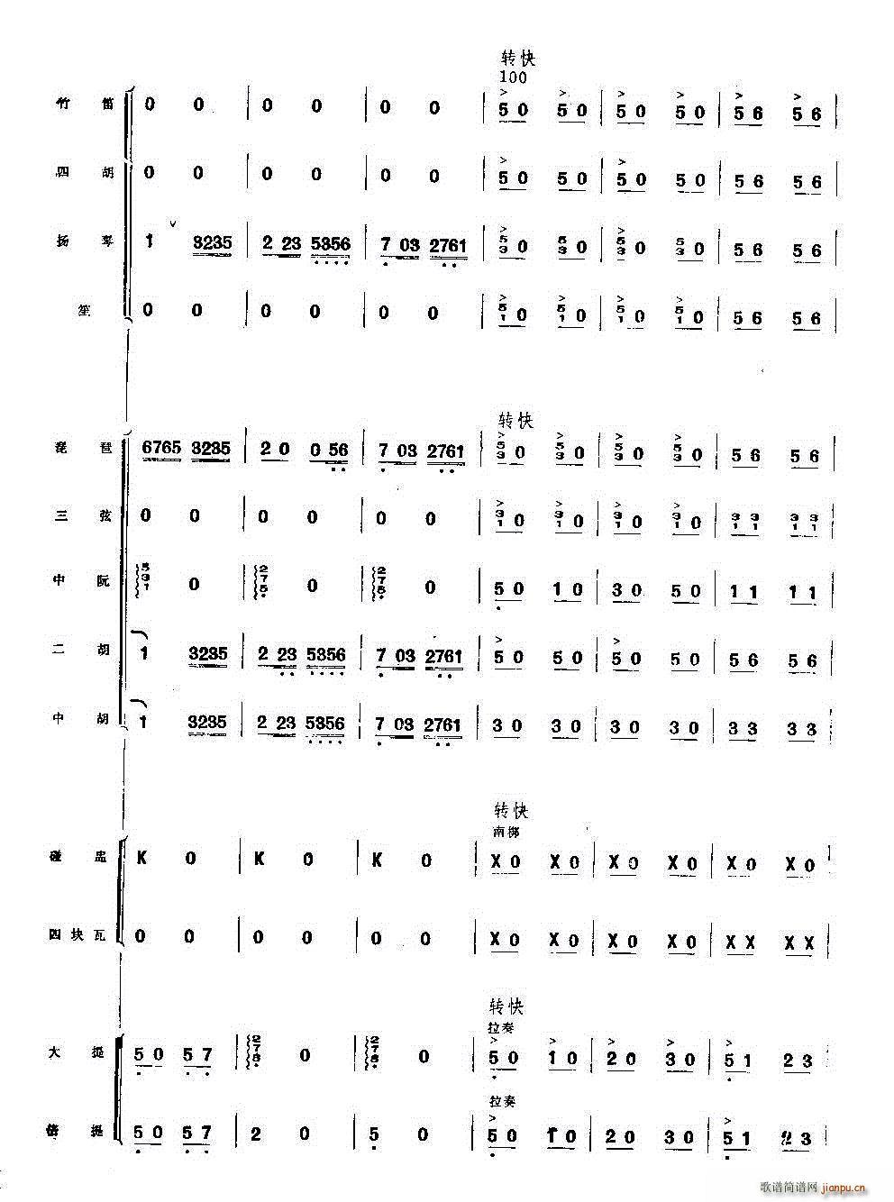 你追我赶学大寨 民乐合奏(总谱)17