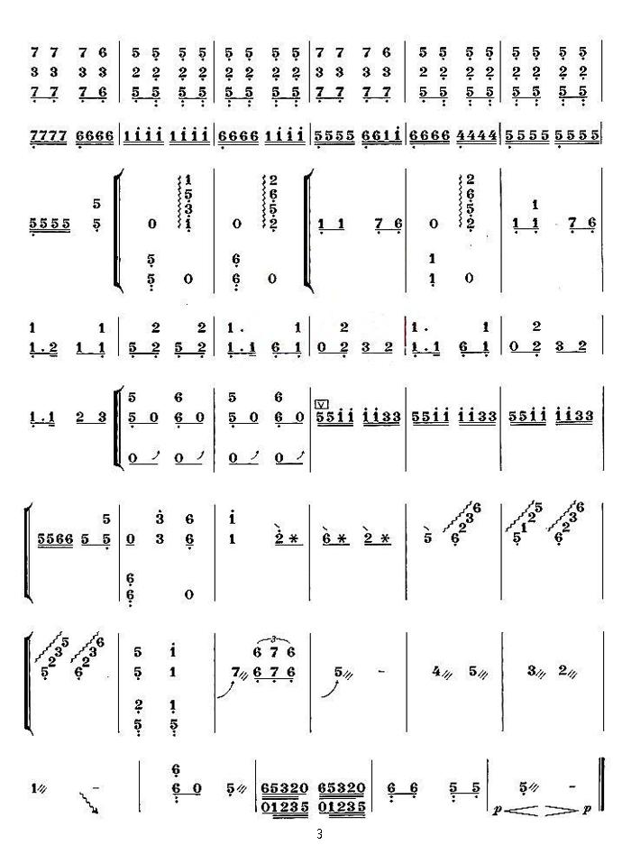 中国乐谱网——【古筝】大浪淘沙