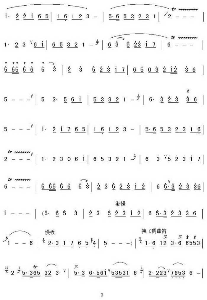 中国乐谱网——【笛箫曲谱】潇湘银河3