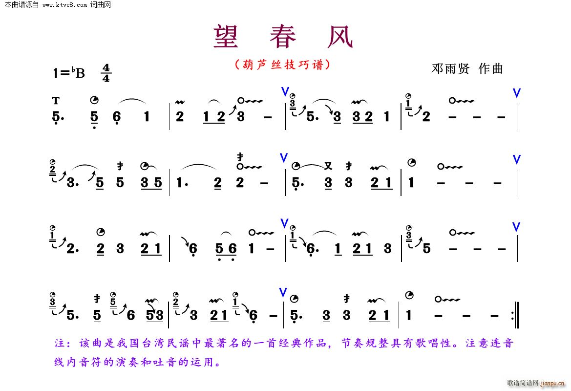 望春风 葫芦丝技巧谱(葫芦丝谱)1