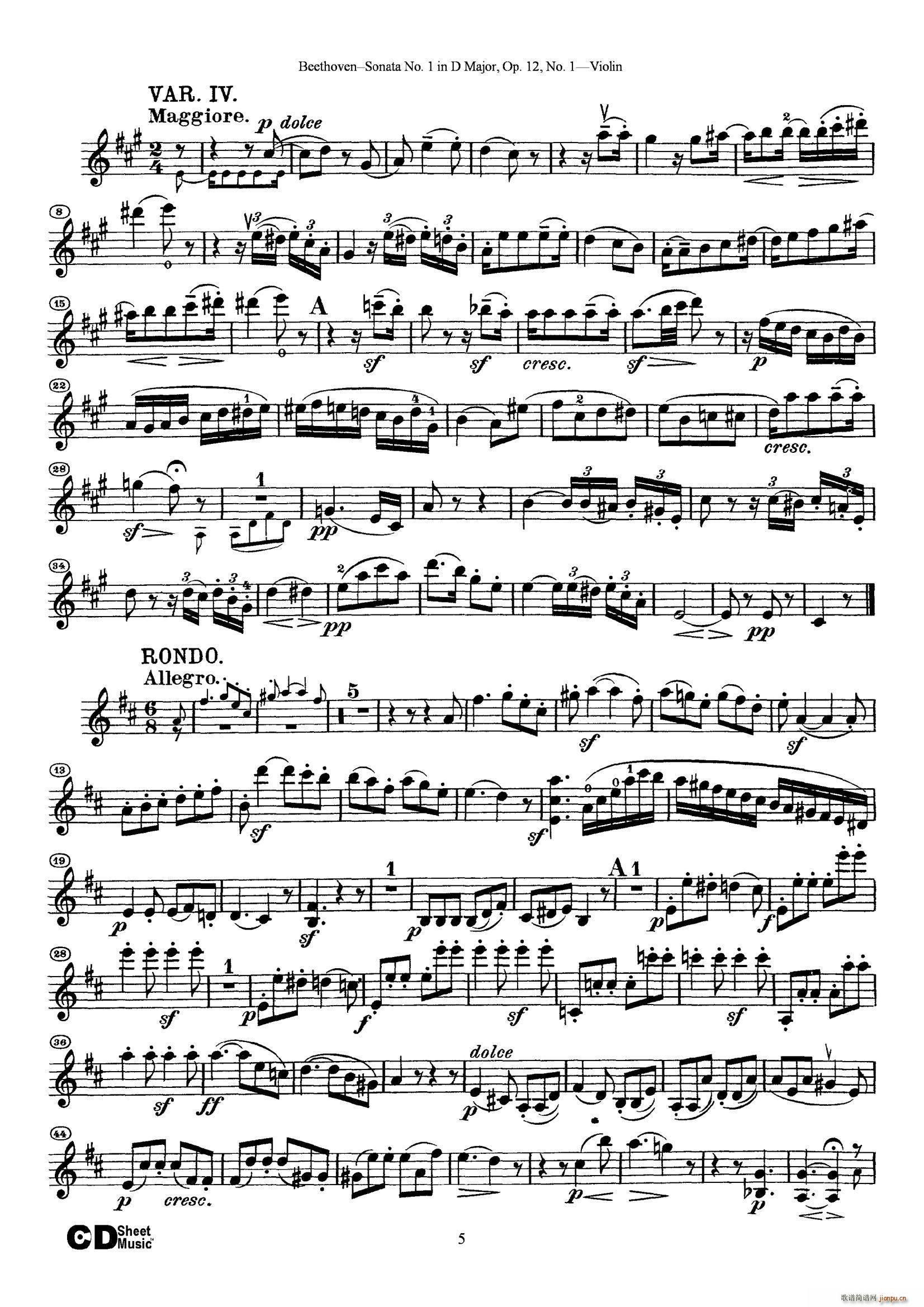 D大调第一小提琴奏鸣曲(小提琴谱)5