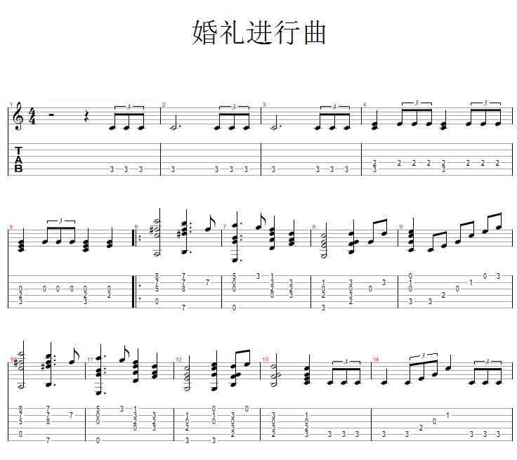中国乐谱网——【吉他谱】婚礼进行曲