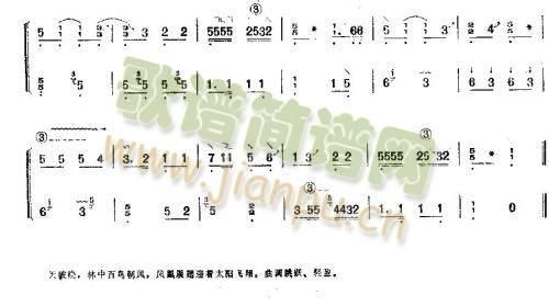 凤凰单展翅(古筝扬琴谱)3